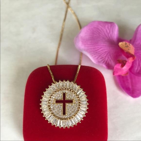 Jewelry - New 18K gold plated CZ diamond cross necklace